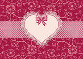 Greetings card with heart frame and dotted ribbon — Stock Vector