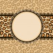 Stock Vector: Card with leopard texture background and lace frame.