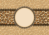 Card with leopard texture background and lace frame. — ストックベクタ