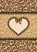 Card with heart frame and leopard fur texture — Stock Vector