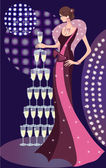 Glamorous lady and party — Stock Vector