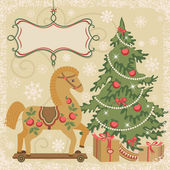 Horse and Christmas tree with gifts — Stock Vector