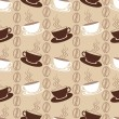 Seamless pattern with white and brown coffee cups — Stock Vector