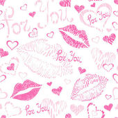 Seamless pattern with lipstick kisses — Stock Vector