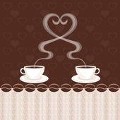 Två koppar kaffe och ånga hjärta — Stockvektor
