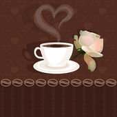 Coffee cup and flower rose — Stock Vector