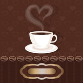 White cupful with coffee and steam heart — Stock Vector