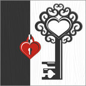Key and heart shaped lock — Stock Vector