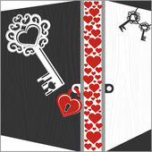 Several keys, lock and open doors with hearts — Stock Vector