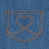 Jeans pocket and heart shaped stitch — Vector de stock