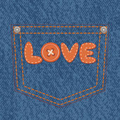 Jeans pocket with text love. — Stock Vector
