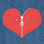 Jeans background and hearts with zipper — Stock Vector