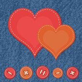 Jeans background with hearts — Vector de stock