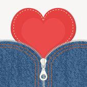 Fond de jeans avec fermeture à glissière et coeur. — Vecteur