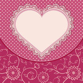 Heart lace frame and dotted background — Stock Vector
