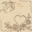 Vintage paper with lovely cupid — Vettoriale Stock