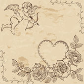 Vintage paper with lovely cupid — Stock Vector