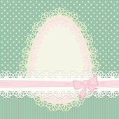 Easter vintage card with egg on dotted green background — Stock Vector