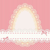 Easter vintage card with egg on pink background — Stock Vector