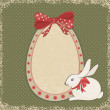 Vintage card with easter bunny and egg form — Stock Vector