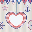 Nautical summer card with heart frame — Stock Vector