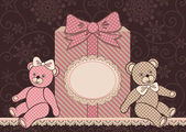 Teddy bears and gift — ストックベクタ