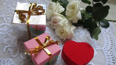 Gifts boxes and roses — Stock Video