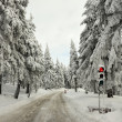 Traffic lights on the winter road in mountain Klínovec — Stock Photo