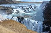 The Golden Waterfall Gullfoss in the Golden Circle — Stock Photo