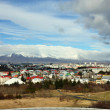 Aerial view of Reykjavik, capital of Iceland from the top of the Hallgrimskirkja church — Stock Photo