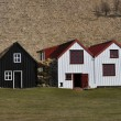 Stock Photo: Overgrown Old Typical Rural Icelandic houses open air museum