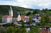 Village Rožmberk- Rosenberg with castle view and around- South Bohemia — Stock Photo