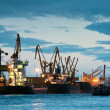 Stock Photo: Shipyard with ships at dusk time