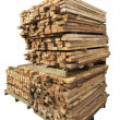 Stack of lumber in timber logs storage — Stock Photo