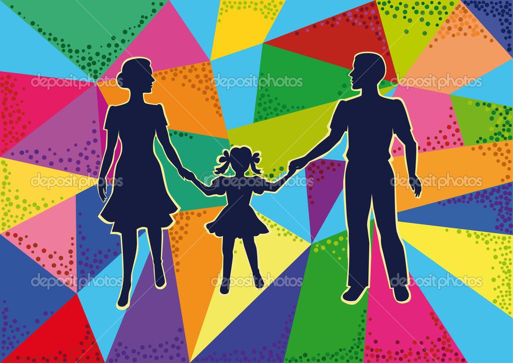 矢量剪影炫彩马赛克背景上行走与儿童的年轻人的家庭
