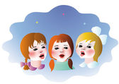 Singing children — Stock Vector