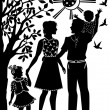 Royalty-Free Stock Vector Image: Family with children on walk