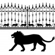 Stock Vector: Silhouette of lion and iron gates with lions