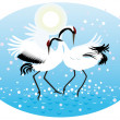 Stock Vector: Dancing cranes