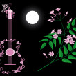 Guitar and jasmine — Stock Vector