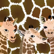 Stock Vector: Background with cubs giraffe.