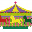 Stock Vector: Carousel with horses