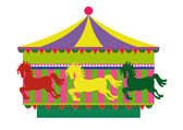 Carousel with horses — Stock Vector