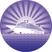Emblem with cruise liner — Stock Vector