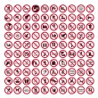 Prohibition signs BGV icon pictogram set collection collage — Stock Vector #11579971