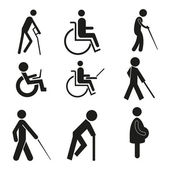 Set icon symbol wheelchair notebook pregnant blind crutch sign handicapped accessible — Stock Vector