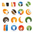 3D abstraction set nature coffee figur dental house fire corporate logo design icon sign business — Stockvectorbeeld