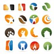 3D abstraction set nature coffee figur dental house fire corporate logo design icon sign business — Stock Vector