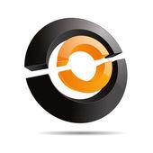 3D abstract orange sun circular symbol ring line slices cube corporate design icon logo trademark — Stock Vector