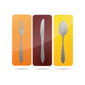 3D abstraction cookbook plate restaurant cutlery wineglass corporate logo design icon sign — Stock Vector